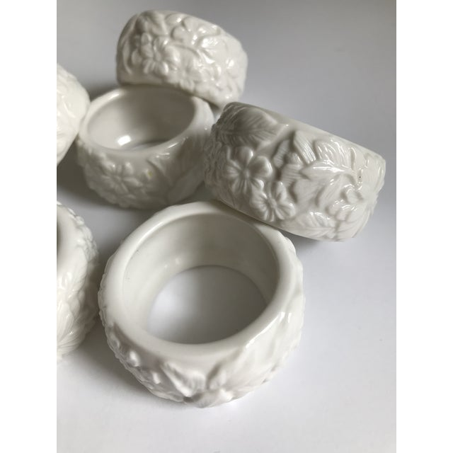 Traditional Vintage White Ceramic Napkin Rings - Set of 6 For Sale - Image 3 of 7