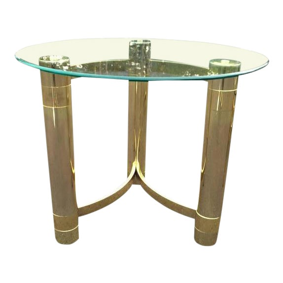 SOLD-1980s Hollywood Regency Brass & Glass Side Table For Sale