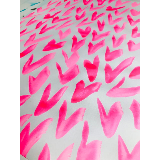 Abstract Contemporary Pink and White Pattern Painting For Sale - Image 3 of 5