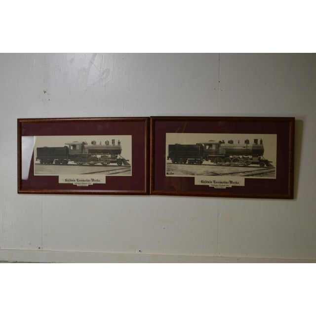 STORE ITEM #: 16107-fwmr Baldwin Locomotive Works Pair of Vintage Framed Train Prints AGE/COUNTRY OF ORIGIN – Approx 35...
