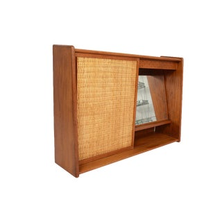 Danish Modern Teak & Cane Wall Mounted Vanity