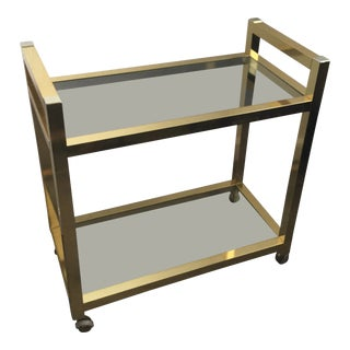 1970s Mid Century Modern Gold Chrome and Glass Bar Cart For Sale