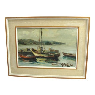 1960s Vintage Ottone Griselli Boats at Anchor Italian Maritime Scene Oil Painting For Sale