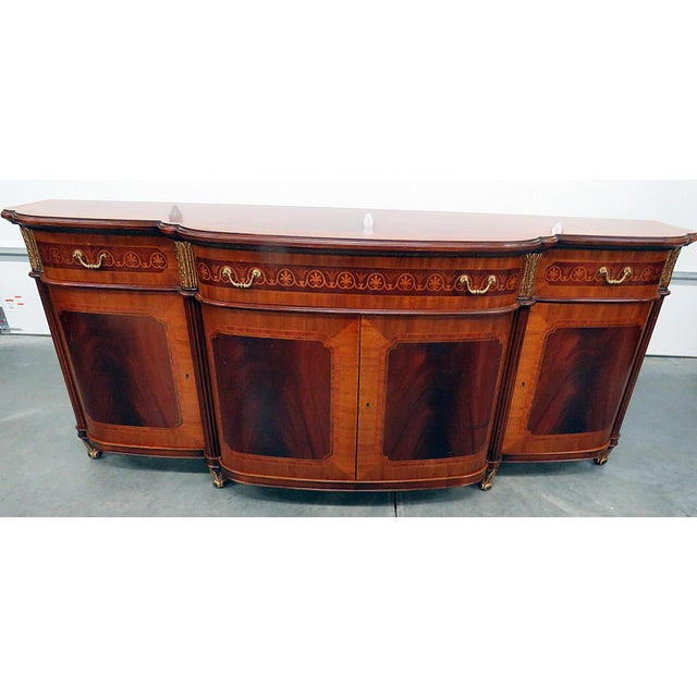 Mid 20th Century Decorative Crafts Regency Style Inlaid Sideboard For Sale - Image 5 of 13
