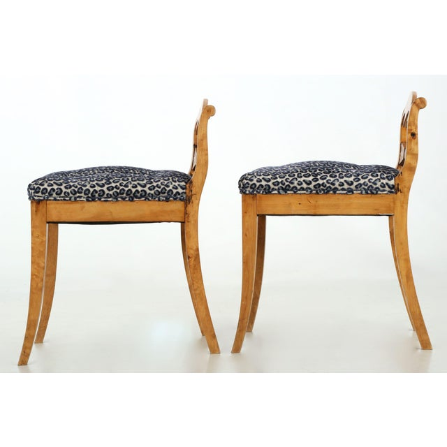 19th Century Biedermeier Style Carved Fruitwood Lowback Side Chairs - a Pair For Sale - Image 5 of 10
