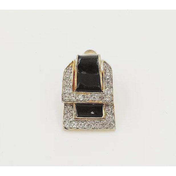 Modern 1980s Valentino Black Enamel Buckle Earrings For Sale - Image 3 of 9
