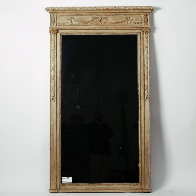 Gray Large Painted Green Gray Mirror With Carved Details For Sale - Image 8 of 8