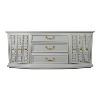 Gray Hollywood Regency Sideboard With Carved Doors For Sale