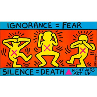 Keith Haring 'Ignorance=Fear' 1989 Plate Signed Original Pop Art Poster For Sale