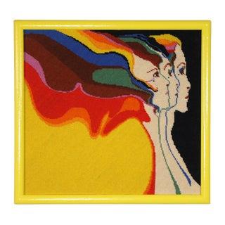 "1970s Vintage Embroidered Divine Feminine ""Three Graces"" by John Luke Eastman Needlepoint Textile Art For Sale"