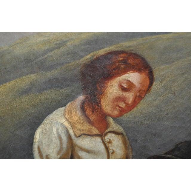 "19th Century European Oil Painting ""Shepherd Family"" - Image 10 of 11"