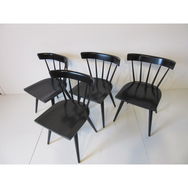 Black Paul McCobb Planner Group Black Maple Spindle Back Dining Chairs - Set of 4 For Sale - Image 8 of 8