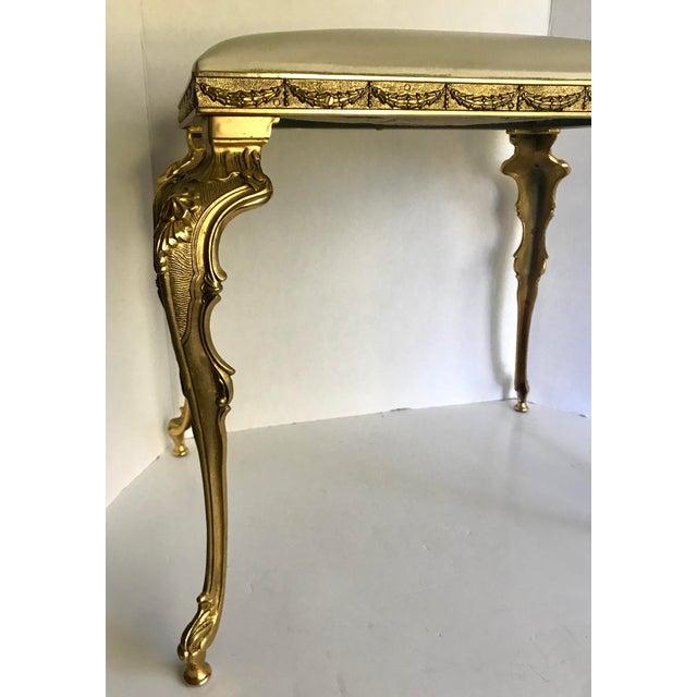Vintage Regency Brass Vanity Stool Made in Italy For Sale - Image 4 of 11