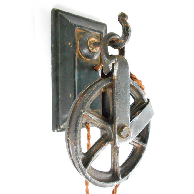Industrial Factory Wheel Wall Sconce - Image 5 of 9