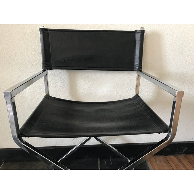Vintage Mid-Century Modern Black Vinyl & Chrome Director Chair - Image 6 of 8