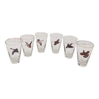 1950s Highball Glasses With Enameled Game Birds - Set of 6 For Sale