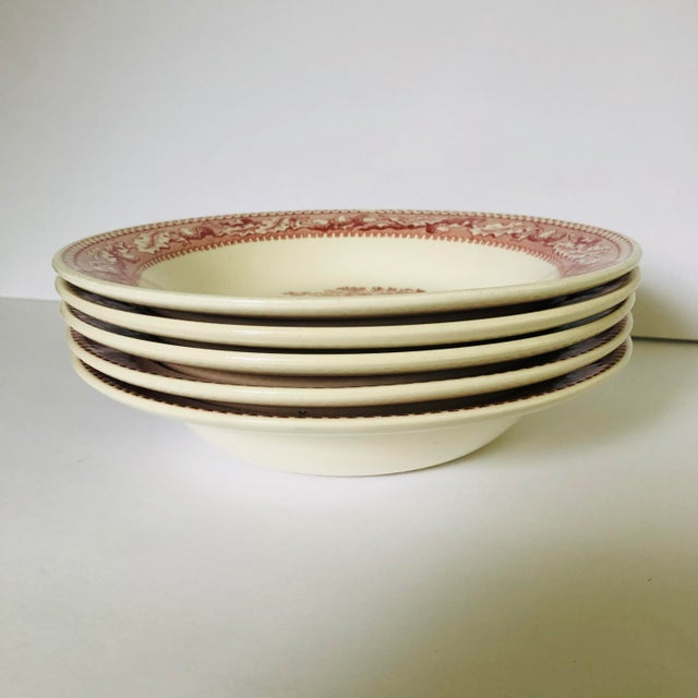 English 1960's Royal Ironstone Red Transfer Ware Soup Bowls S/5 For Sale - Image 3 of 8