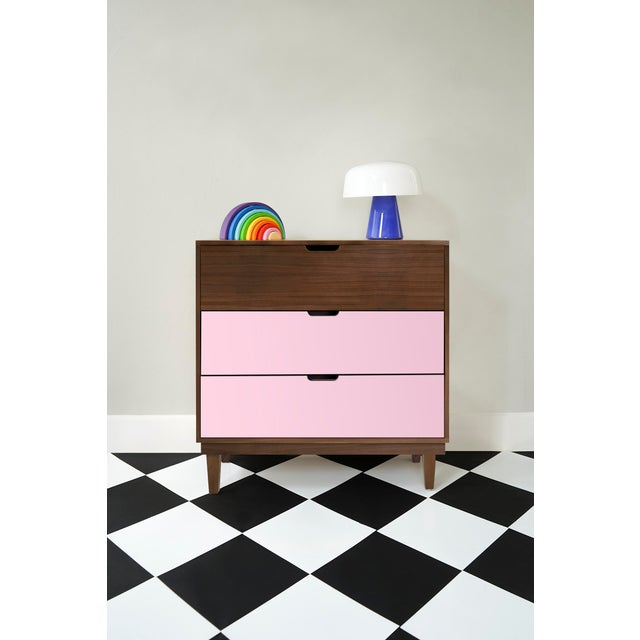 Modern Nico & Yeye Kabano Modern Kids 3 Drawer Dresser Walnut Pink For Sale - Image 3 of 5