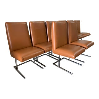 Chrome Base Dining Chairs - Set of 8 For Sale