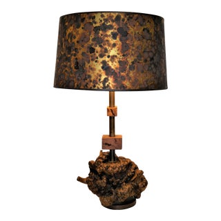 1960s Organic Modern Gnarly Burl Table Lamp For Sale