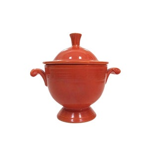 1930s Art Deco Fiesta Red Glaze Sugar Bowl With Lid For Sale