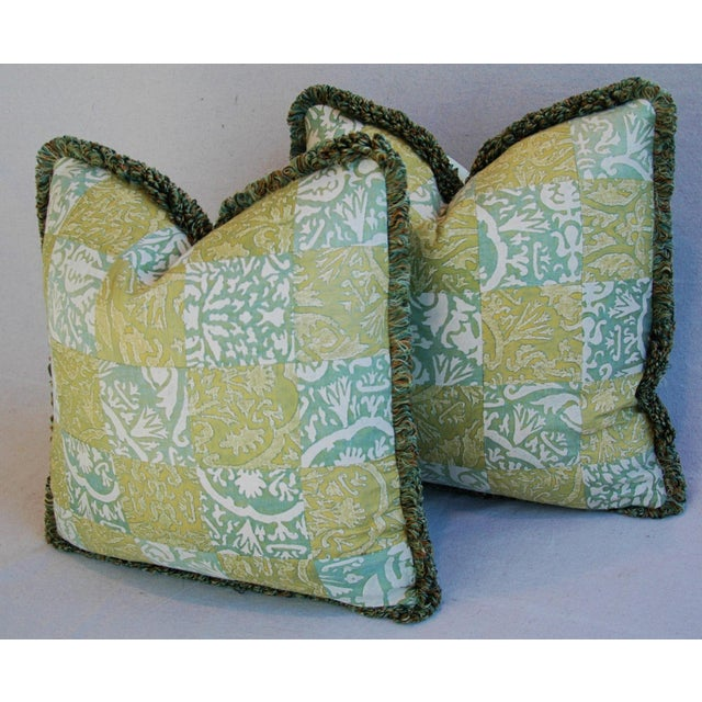 """21"""" Custom Italian Fortuny Piazzetta & Boucher Feather/Down Pillows - Pair - Image 7 of 10"""