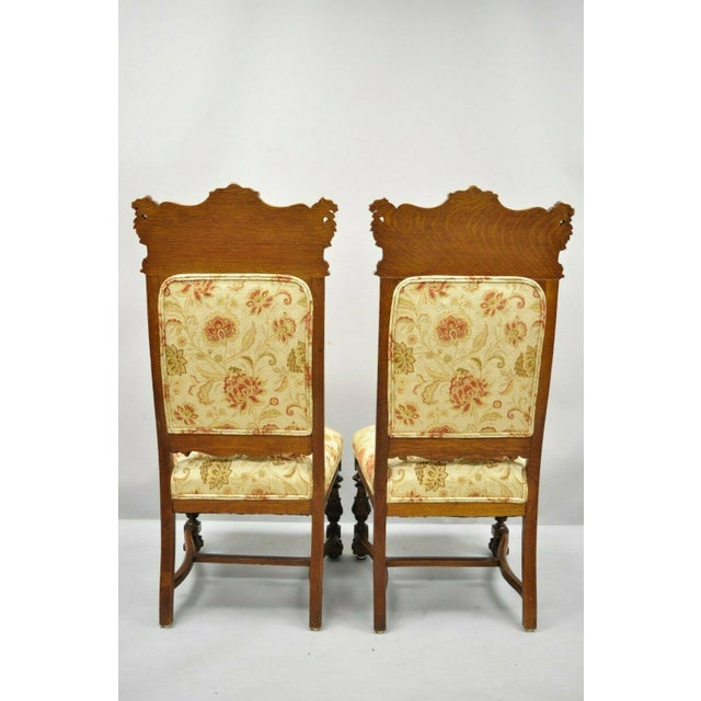 Orange Late 19th Century Vintage Carved Oak Winged Griffin Paw Foot Dining Chairs- A Pair For Sale - Image 8 of 12