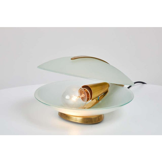 Max Ingrand Glass and Brass Shell Table Lamps for Fontana Arte, Circa 1960 For Sale - Image 13 of 13