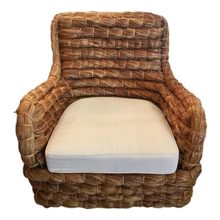 Boho Chic Woven Banana Leaf Armchair For Sale