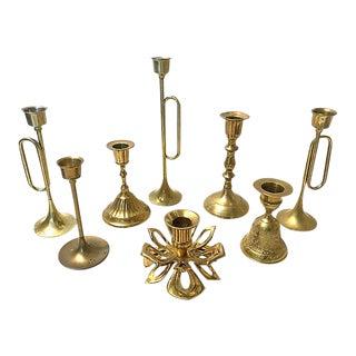 1970s Mismatched Brass Candlesticks - Set of 8 For Sale
