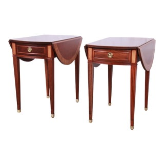 Baker Furniture Georgian Style Banded Mahogany Pembroke Side Tables - a Pair For Sale