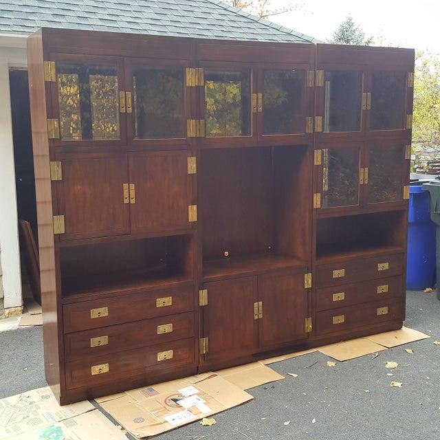 Henredon Campaign Illuminated Cabinets - Set of 3 - Image 4 of 11