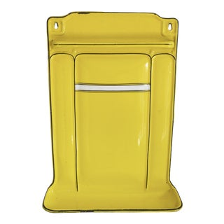 French Yellow Enamel Kitchen Utensil Wall Rack and Towel Holder For Sale