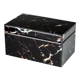 Black Marble Glass Box For Sale
