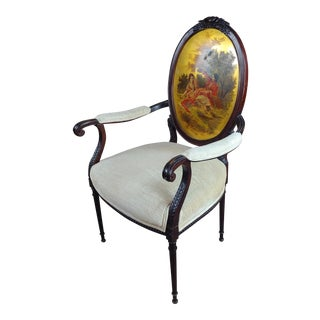 19th Century Vintage Italian Arm Chair with Lovers Scene Painted Back For Sale
