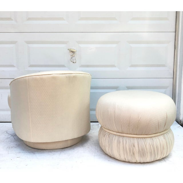 White Modern Swivel Club Chair With Matching Pouf Ottoman For Sale - Image 8 of 9