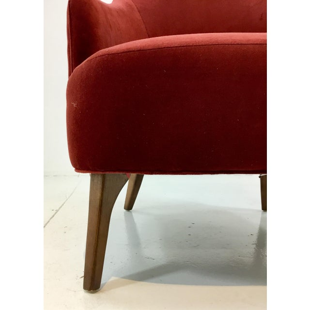 Elegant transitional Drexel Heritage Clay Velvet Curl Club Chair, medium wood legs, chic curvy design, showroom floor...