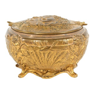 Late 19th Century Art Nouveau Bronze Covered Box For Sale