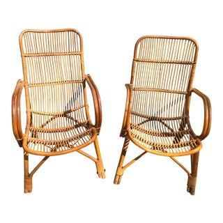 20th Century Americana Ficks and Reed Style Bamboo Chairs - a Pair