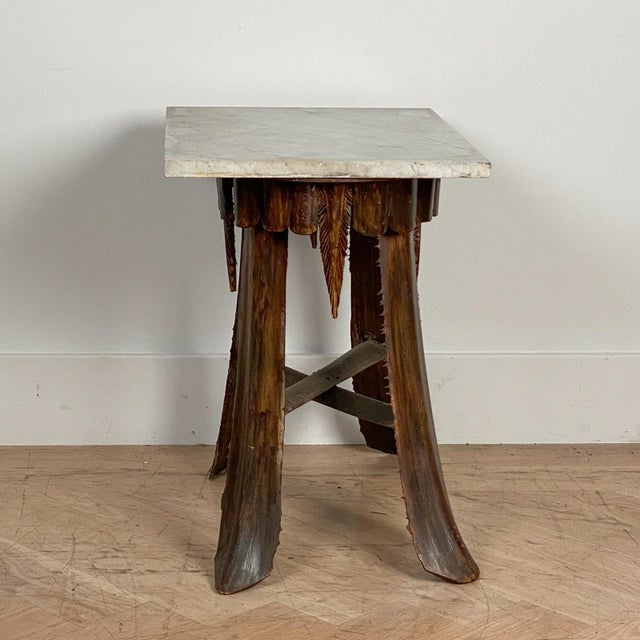 American Mid Century Palm Leaf Table With Antique Marble Top, Hawaii For Sale - Image 3 of 6