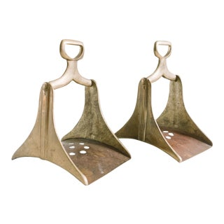 Antique Brass Camel Stirrups - a Pair For Sale