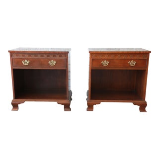 Baker Furniture Chippendale Style Mahogany Nightstands - a Pair For Sale