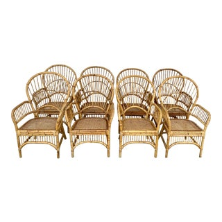 Vintage Rattan Fan Back Chairs- Set of 8 For Sale