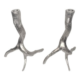 Pewter Tree Root Shaped Candlestick Holders - a Pair For Sale