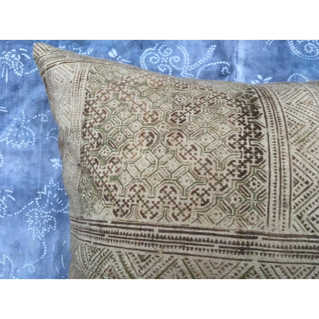 Hand Loomed Tribal Batik Textile Pillow - Image 3 of 7