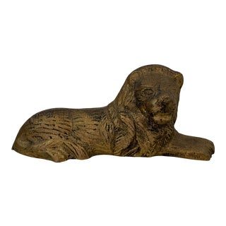 Mid Century Brass Lion Statue Decor For Sale
