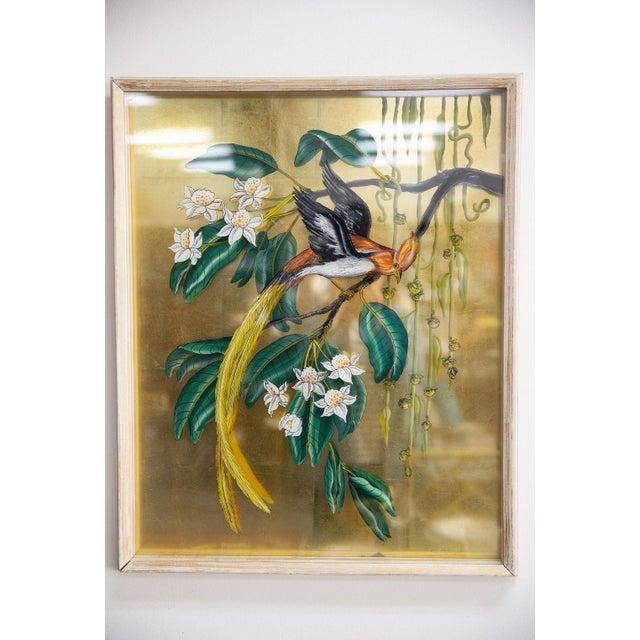 Hollywood Regency Vintage Mid-Century Reverse Bird Botanic Paintings - A Pair For Sale - Image 3 of 6