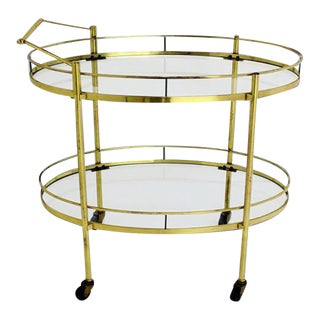 Mid Century Modern Solid Brass Oval Tea Cart Rolling Bar For Sale