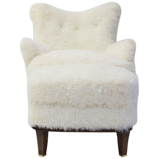 Upholstered Ottoman Shown With Willow Club Chair Covered in Shearling For Sale