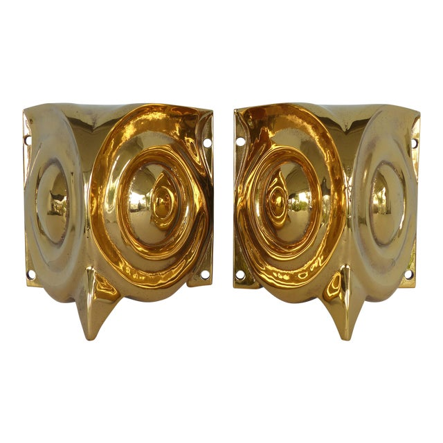 1930s French Art Deco Gilt Bronze Owl Sconces - a Pair For Sale